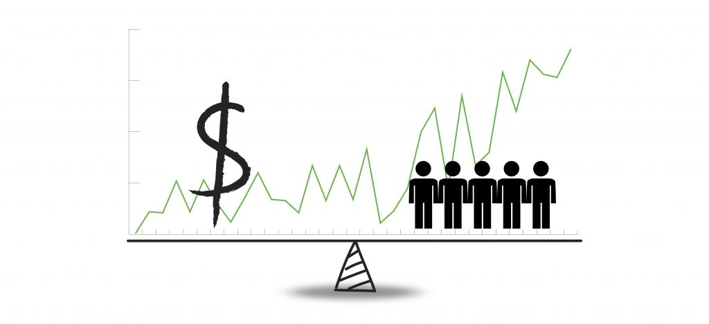 Conceptual financial and business illustration of hand drawn weight measure balance with dollar sign on one pan and a people on the other and increasing value graph. Isolated on white.
