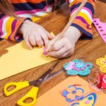 Preschool child create shapes and designs for children